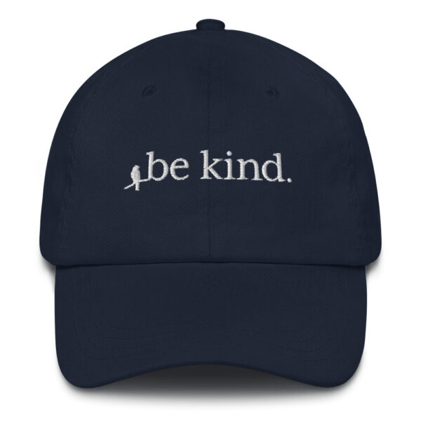 The Be Kind Embroidered Hat has a low profile with an adjustable strap, curved visor, and a kind message. #bekind